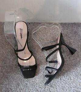 Nasty Gal Black Toe Post Strappy Heeled Mules / Sandals, Size UK 5 EU 38
