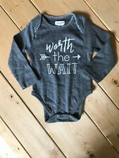 Worth The Wait One Piece Bodysuit Long sleeve Mudpie Gray 0-6 Months - 11030049W