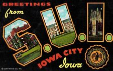 Large Letter Postcard,Greetings from SUI,State University of Iowa,Used,1957