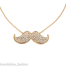 Elegant Gold Tone Crystal Rhinestone Mustache Charm Pendant Long Necklace