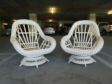 Vintage Over Sized Summer Beach House Big Fan Back Rattan Easy Chairs