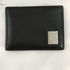 VERSACE COLLECTION Mens Black Saffiano Leather Medusa Logo Bifold Wallet FLAW