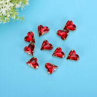 10pcs Imitation Stones, 12x13mm Red Heart Shape Imitation Stones with Claw DIY