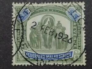 Federated Malay States 1922 Wmk MSCA Malaya Indian Elephants $5 - 1v Used