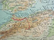 1921 mappa di grandi dimensioni ~ Nord Africa ~ Marocco Algeria Tunisi Libia COSTA D'AVORIO