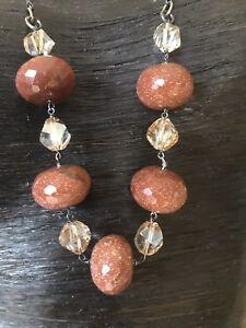 GOLDSTONE Dust Glitter Gemstone STATEMENT Brown Glass Beads Black Necklace