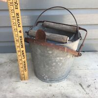 Vintage Galvanized Tin Wringer Mop bucket - repurpose as a flower pot