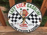 "Vintage Lady Luck Gasoline 1961 Casino & Gas Station Porcelain Sign 12"" Gas Oil"