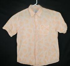 Men's  YVES SAINT LAURENT Shirt Short Sleeve Striped Orange White Paisley XXL