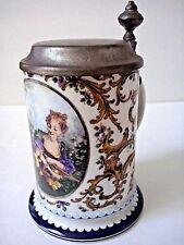 Vintage Kurt Hammer Germany Pewter Lidded Porcelain Beer Stein Mug