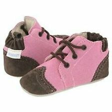 NIP Robeez Shoes Mini Shoez Booties Classic Boot Laces Rose Brown 3-6m 1.5 2