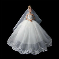 Fashion White Princess Wedding Dress + Veil For 30cm Doll Clothes Gow