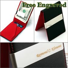 Free Engraving Men's Leather Silver Money Clip Slim Wallet ID Credit Card Holder