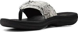 Clarks Women's Brinkley Jazz Flip-Flop / Black, White Snake Synthetic / size 6
