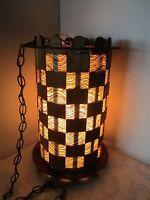 "MID-CENTURY MODERN SWAG HANGING LAMP FIBERGLASS & WOOD SHADE 17¼"" Tall Atomic"