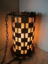 "MID-CENTURY MODERN SWAG HANGING LAMP FIBERGLASS & WOOD SHADE 17¼"" Tall Atomic"