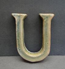 Vintage Moravian Ceramic Letter U Tile