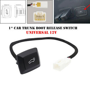Car Rear Trunk Lock Door Electric Tailgate Trunk Switch Button Red LED Light Kit