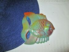 """Vintage 1954 Miller Studios Chalkware Fish Wall Plaque Re-Painted 6"""" x 5 1/4"""""""