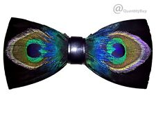 Men's Feather Handmade Pre-Tied Bow Tie (Black mixed Violet) BT013