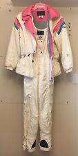 Vtg DESCENTE Womens Size M Ski Suit Snowsuit Snow Bib & Jacket Ivory Pink Aqua