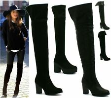 Block Heel Synthetic Over Knee Boots for Women