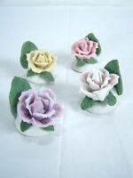Rose Set of 4 Ceramic Handmade Hand Painted Roses Pink Purple Tan Two-Tone White