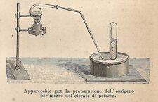 A9173 Apparecchio prepara ossigeno - Xilografia Antica del 1906 - Engraving