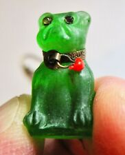 Vintage Art Deco Frosted Czech Glass Bull Dog Pendant W/ Gold Filled Necklace