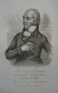 Original 1820s Antique Engraving Print George Canning William Darton London