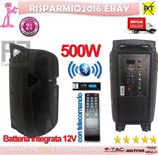 CASSA ATTIVA AMPLIFICATA 500W DISPLAY BLUETOOTH USB SD RICARICABILE TELECOMANDO