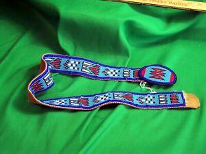 Plains Indian Beaded Belt and Belt Buckle - Vintage & Beautiful!