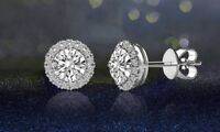 3.4 CTTW Halo Stud Earrings with Swarovski Elements in Silver