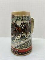 1988  Anheuser Busch  AB  Budweiser Bud Holiday Christmas Beer Stein Clydesdales