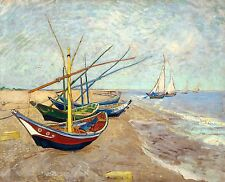 Van Gogh 1888, Fishing Boats Saintes-Maries, Fade Resistant HD Art Print Canvas