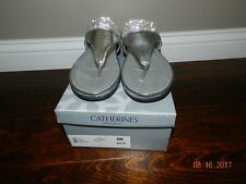NIB Catherines Silver Rhinestone sparkle slide thong sandals 9W $49