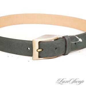 NWOT #1 MENSWEAR Berg & Berg Made in Italy Green Nubuck Suede Brass Bkl Belt #8