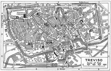 TREVISO town/city plan. Italy 1953 old vintage map chart