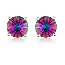 Mystic Topaz Round Shape 925 Sterling Silver Women Jewelry Stud Earrings SE041