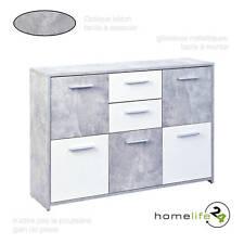 Commode moderne béton gris clair blanc 5 portes 2 tiroirs avec glissières mét...