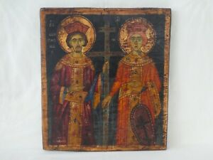 Antique Russian Orthodox Hand Painted Signed Icon