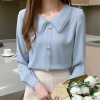 Fashion Womens Long Sleeve Chiffon Ladies Business Office Work Shirt Blouse Tops