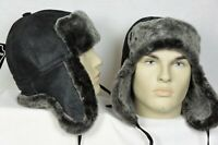 Black GrayAsh 100% Sheepskin Shearling Leather Hat Trapper Ushanka Hunting M-3XL