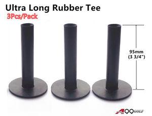 "A99 Golf Ultra Long Rubber Tees Black 3 3/4"" 3pcs Indoor Outdoor Simulator Home"