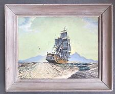 GOUACHE? OIL ON BOARD? PAINTING OF BRITISH SCHOONER SIGNED LEWIS SHAFER