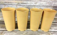 Tupperware Tumblers #873 Drinking Glasses 12 oz Harvest Gold Vintage Set of 4