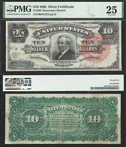 """$10 1886 Silver Certificate """"Tombstone"""" Fr. 294 PMG Very Fine 25"""