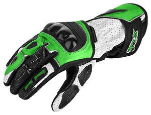 Handschuhe von XLS Lederhandschuhe Motorradhandschuhe Kawa Grün Gr. S bis 3XL