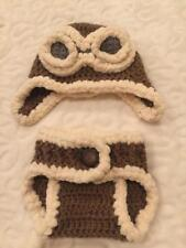 Hand Crochet Photo Prop Baby Aviator Diaper Cover Hat Set Newborn  Outfit  - NEW