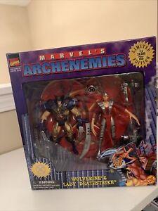 Toy Biz 1997 Marvel Archenemies Wolverine Lady Deathstrike Figures Box Set X-Men